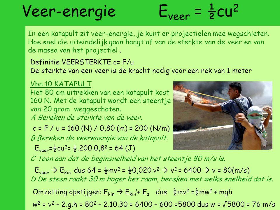 Veer-energie E veer = ½cu 2 In een katapult zit veer-energie, je kunt er projectielen mee wegschieten.