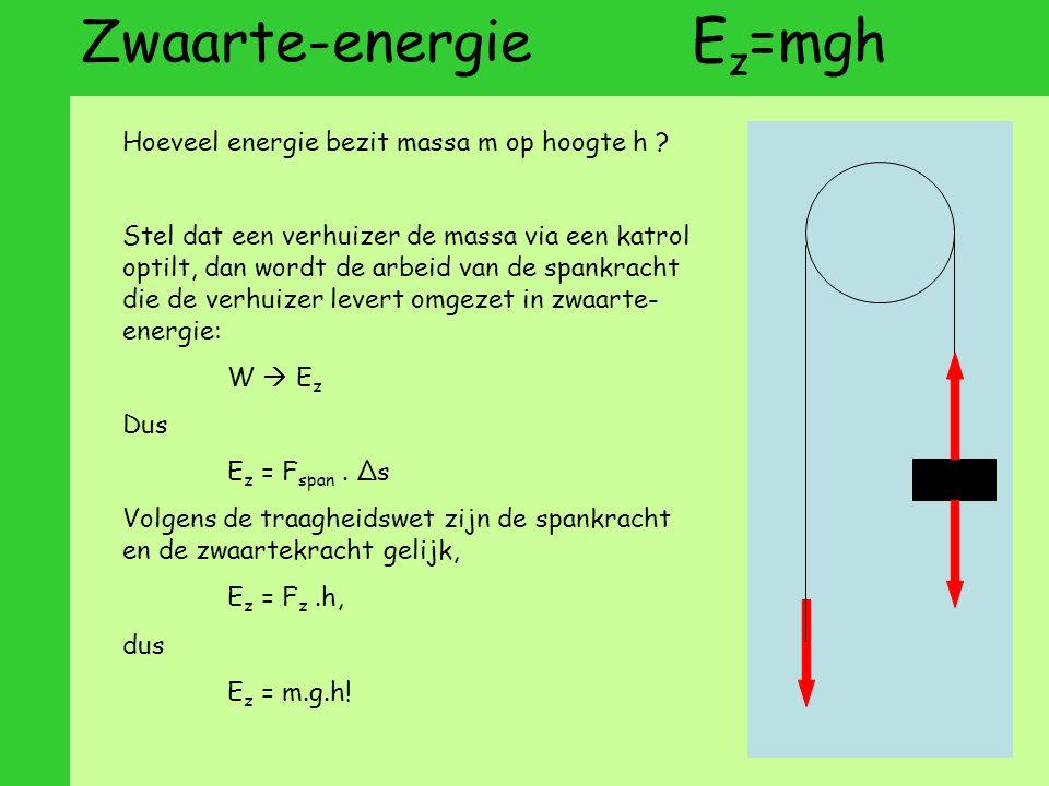 Zwaarte-energie E z =mgh Hoeveel energie bezit massa m op hoogte h .