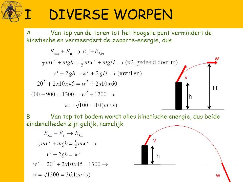 AVan top van de toren tot het hoogste punt vermindert de kinetische en vermeerdert de zwaarte-energie, dus BVan top tot bodem wordt alles kinetische energie, dus beide eindsnelheden zijn gelijk, namelijk IDIVERSE WORPEN v w h H v w h w