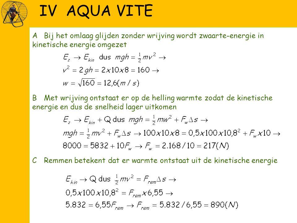 IV AQUA VITE ABij het omlaag glijden zonder wrijving wordt zwaarte-energie in kinetische energie omgezet BMet wrijving ontstaat er op de helling warmte zodat de kinetische energie en dus de snelheid lager uitkomen CRemmen betekent dat er warmte ontstaat uit de kinetische energie