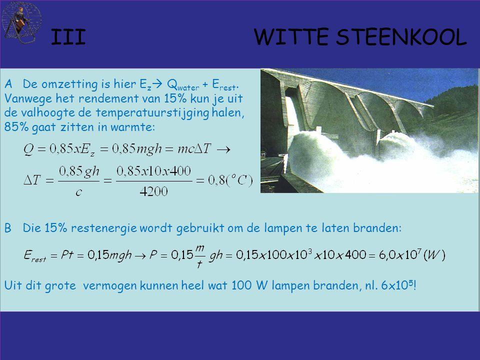 III WITTE STEENKOOL ADe omzetting is hier E z  Q water + E rest.
