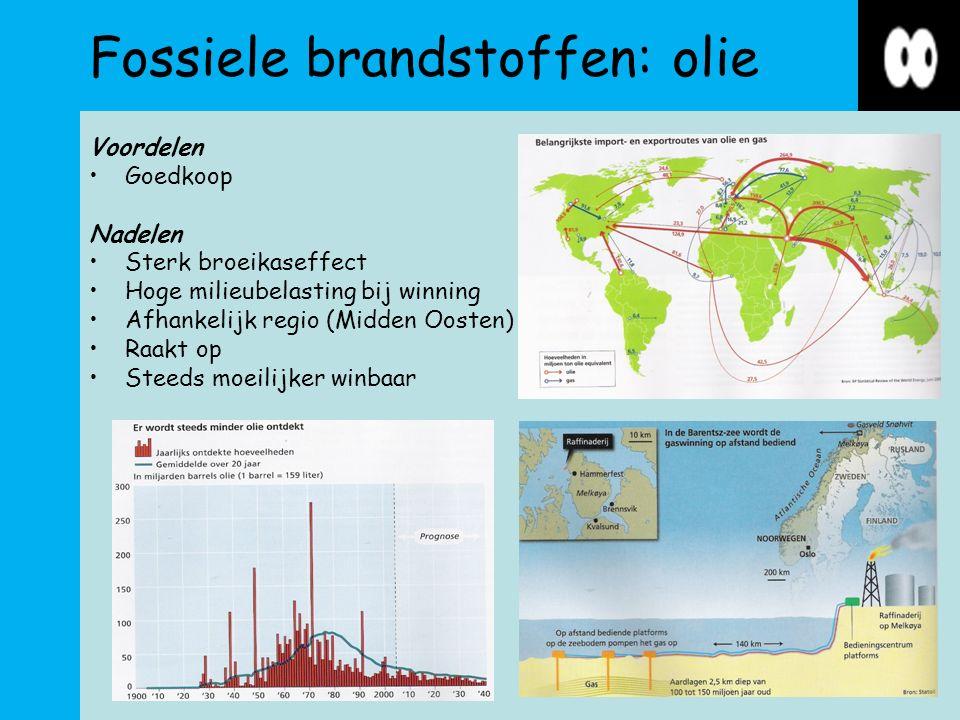 Fossiele brandstoffen: olie Voordelen Goedkoop Nadelen Sterk broeikaseffect Hoge milieubelasting bij winning Afhankelijk regio (Midden Oosten) Raakt op Steeds moeilijker winbaar
