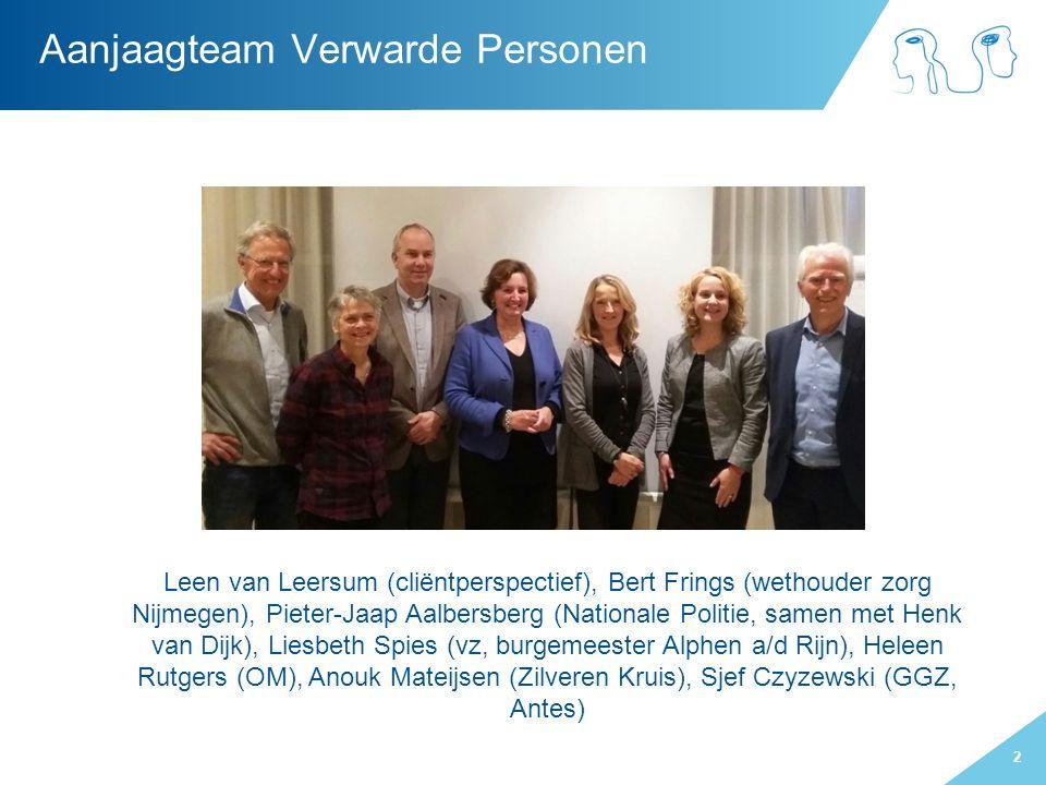 2 Aanjaagteam Verwarde Personen Leen van Leersum (cliëntperspectief), Bert Frings (wethouder zorg Nijmegen), Pieter-Jaap Aalbersberg (Nationale Politi