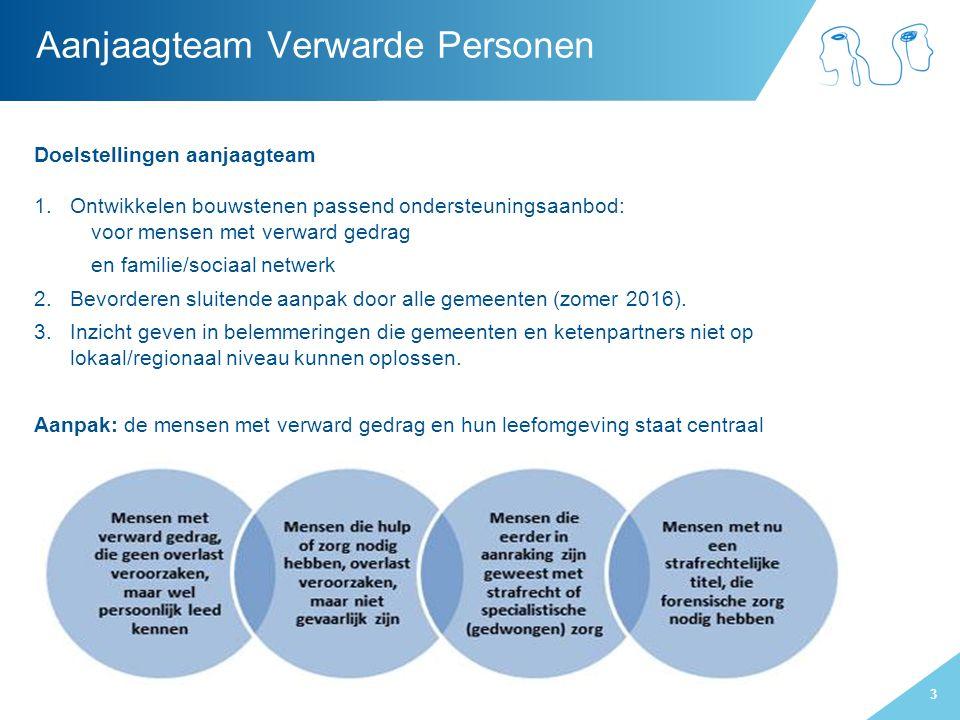 3 Aanjaagteam Verwarde Personen Doelstellingen aanjaagteam 1.Ontwikkelen bouwstenen passend ondersteuningsaanbod: voor mensen met verward gedrag en fa