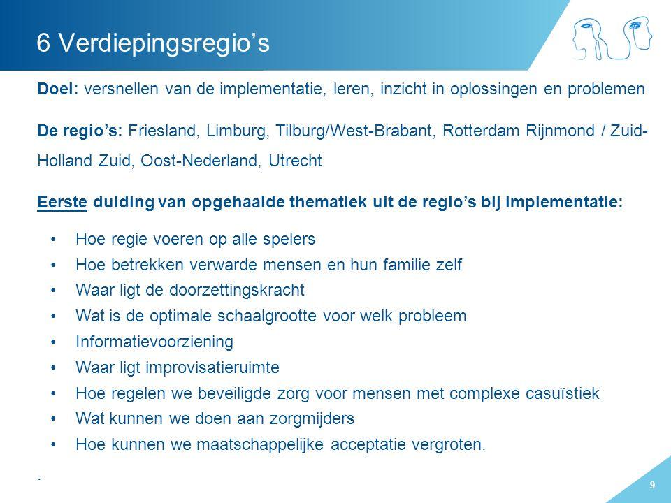 9 Doel: versnellen van de implementatie, leren, inzicht in oplossingen en problemen De regio's: Friesland, Limburg, Tilburg/West-Brabant, Rotterdam Ri
