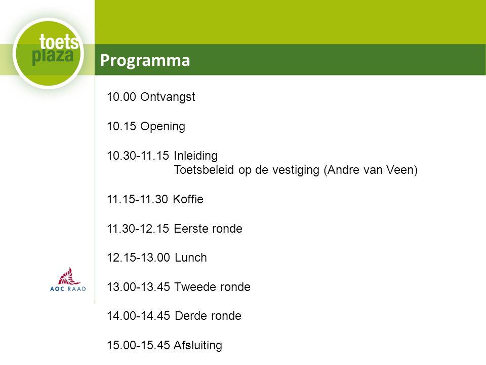 Programma 10.00 Ontvangst 10.15 Opening 10.30-11.15 Inleiding Toetsbeleid op de vestiging (Andre van Veen) 11.15-11.30 Koffie 11.30-12.15 Eerste ronde 12.15-13.00 Lunch 13.00-13.45 Tweede ronde 14.00-14.45 Derde ronde 15.00-15.45 Afsluiting