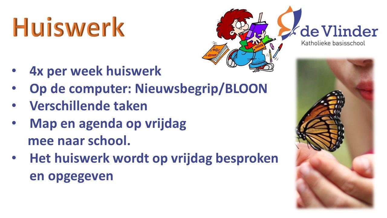 4x per week huiswerk Op de computer: Nieuwsbegrip/BLOON Verschillende taken Map en agenda op vrijdag mee naar school. Het huiswerk wordt op vrijdag be
