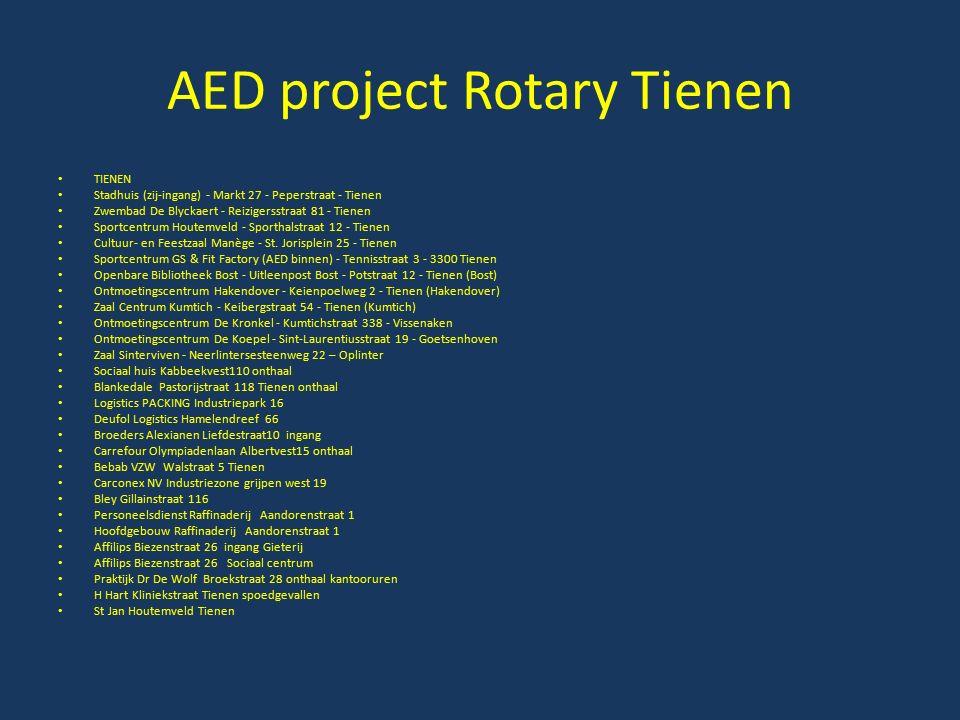 AED project Rotary Tienen TIENEN Stadhuis (zij-ingang) - Markt 27 - Peperstraat - Tienen Zwembad De Blyckaert - Reizigersstraat 81 - Tienen Sportcentr
