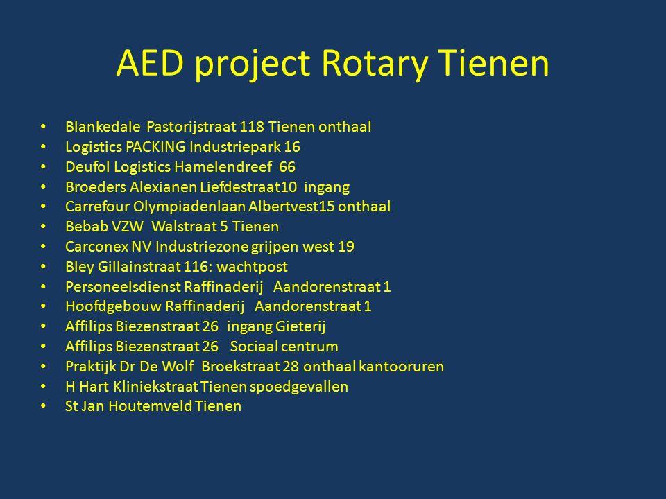 AED project Rotary Tienen Blankedale Pastorijstraat 118 Tienen onthaal Logistics PACKING Industriepark 16 Deufol Logistics Hamelendreef 66 Broeders Al