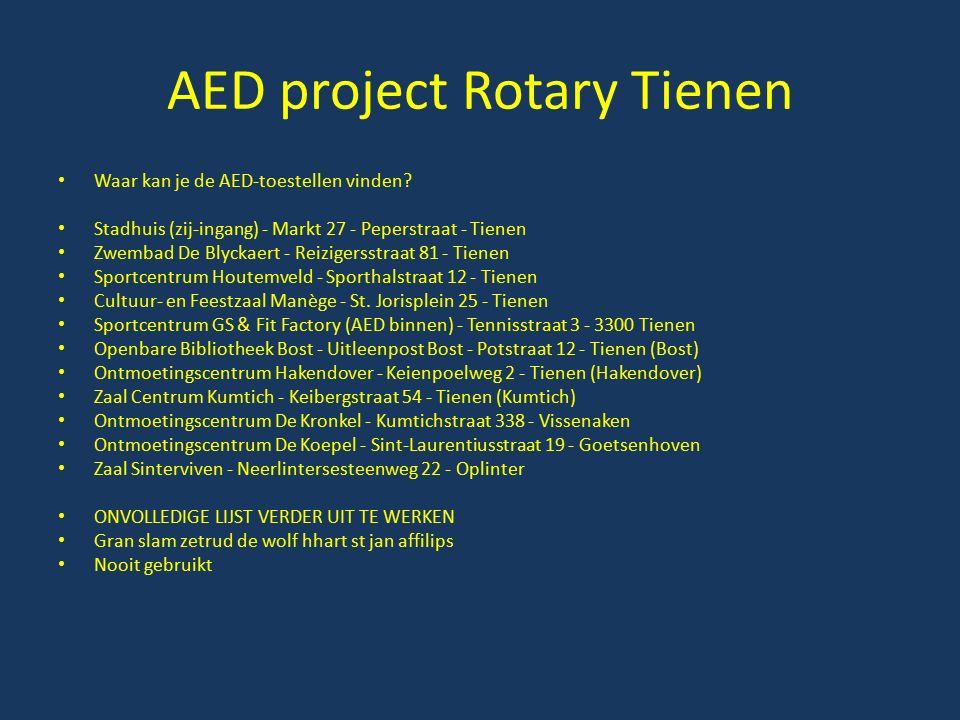 AED project Rotary Tienen Waar kan je de AED-toestellen vinden? Stadhuis (zij-ingang) - Markt 27 - Peperstraat - Tienen Zwembad De Blyckaert - Reizige