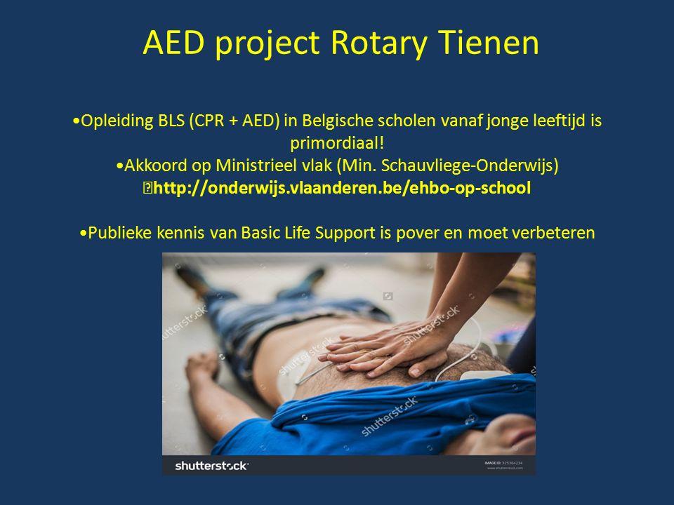 AED project Rotary Tienen Opleiding BLS (CPR + AED) in Belgische scholen vanaf jonge leeftijd is primordiaal! Akkoord op Ministrieel vlak (Min. Schauv