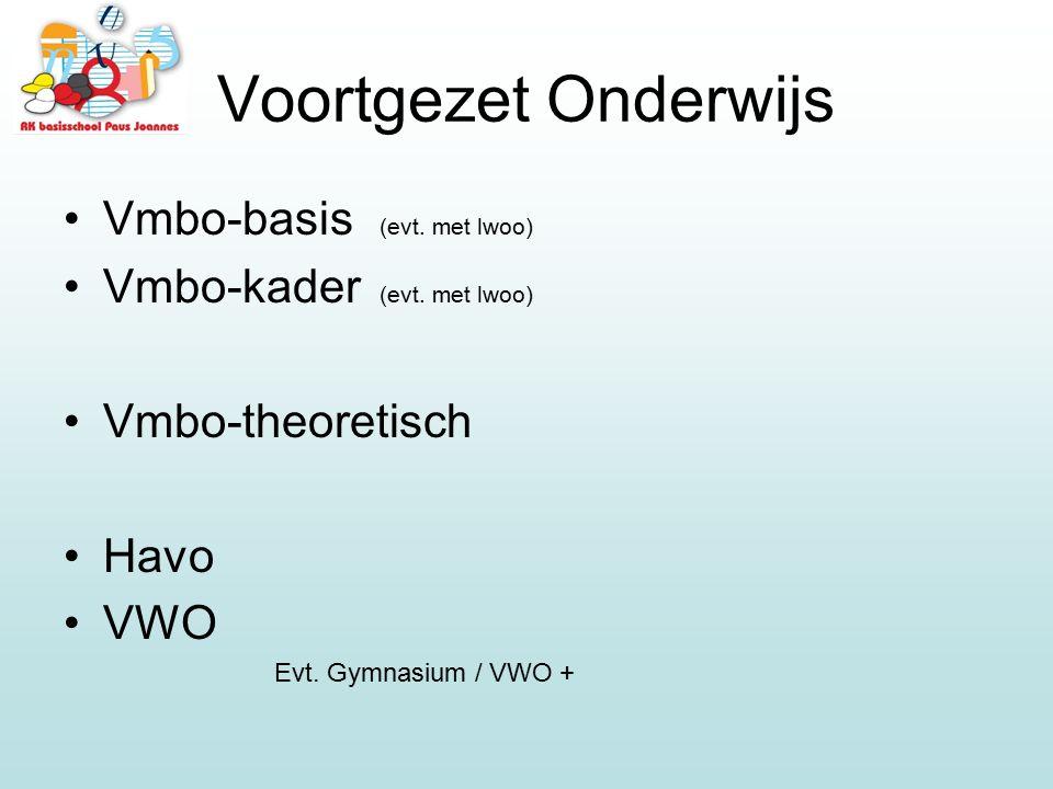 Vmbo-basis (evt. met lwoo) Vmbo-kader (evt. met lwoo) Vmbo-theoretisch Havo VWO Evt. Gymnasium / VWO +