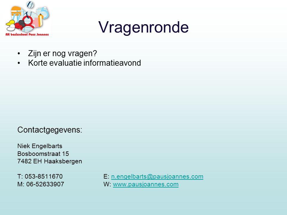 Vragenronde Zijn er nog vragen? Korte evaluatie informatieavond Contactgegevens: Niek Engelbarts Bosboomstraat 15 7482 EH Haaksbergen T: 053-8511670E: