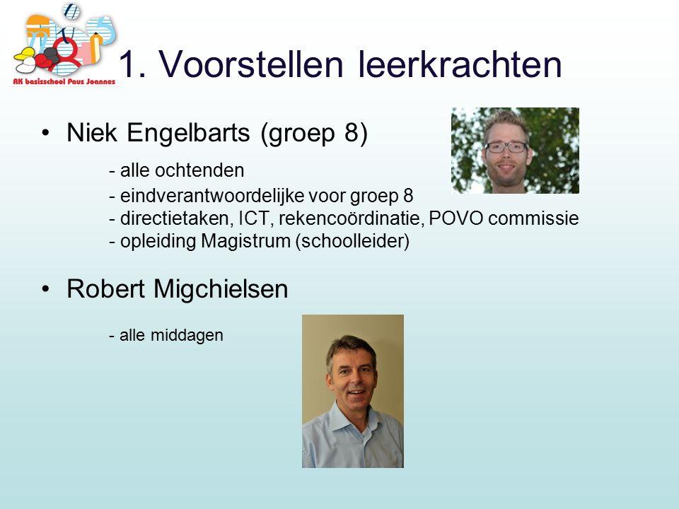 1. Voorstellen leerkrachten Niek Engelbarts (groep 8) - alle ochtenden - eindverantwoordelijke voor groep 8 - directietaken, ICT, rekencoördinatie, PO