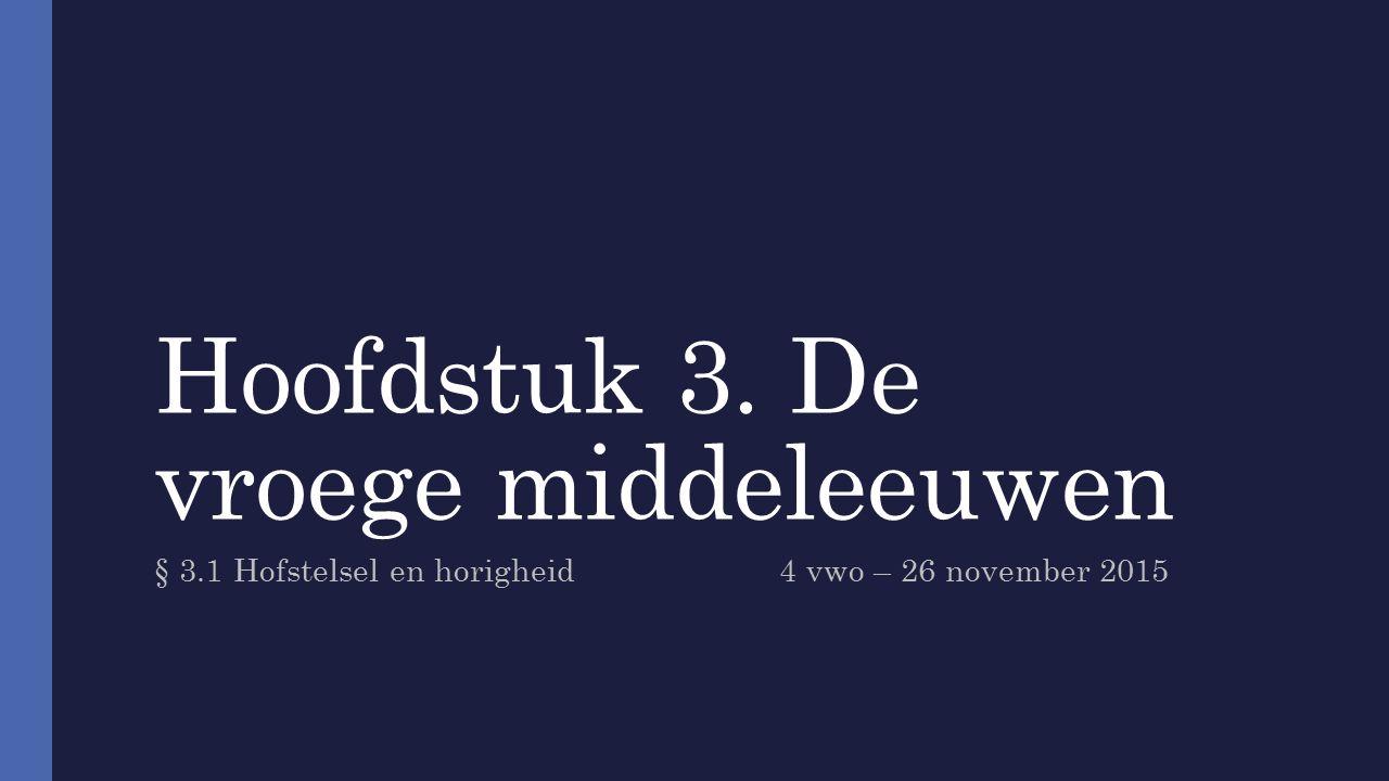 Hoofdstuk 3. De vroege middeleeuwen § 3.1 Hofstelsel en horigheid4 vwo – 26 november 2015