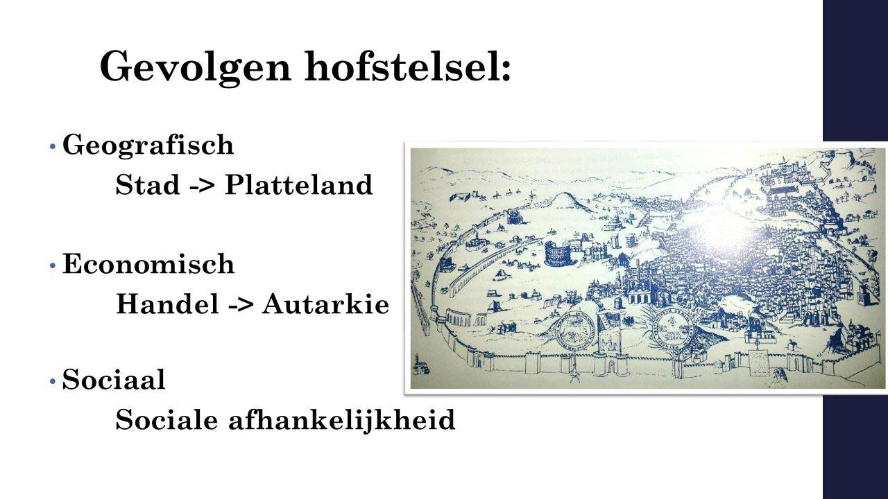 Gevolgen hofstelsel: Geografisch Stad -> Platteland Economisch Handel -> Autarkie Sociaal Sociale afhankelijkheid