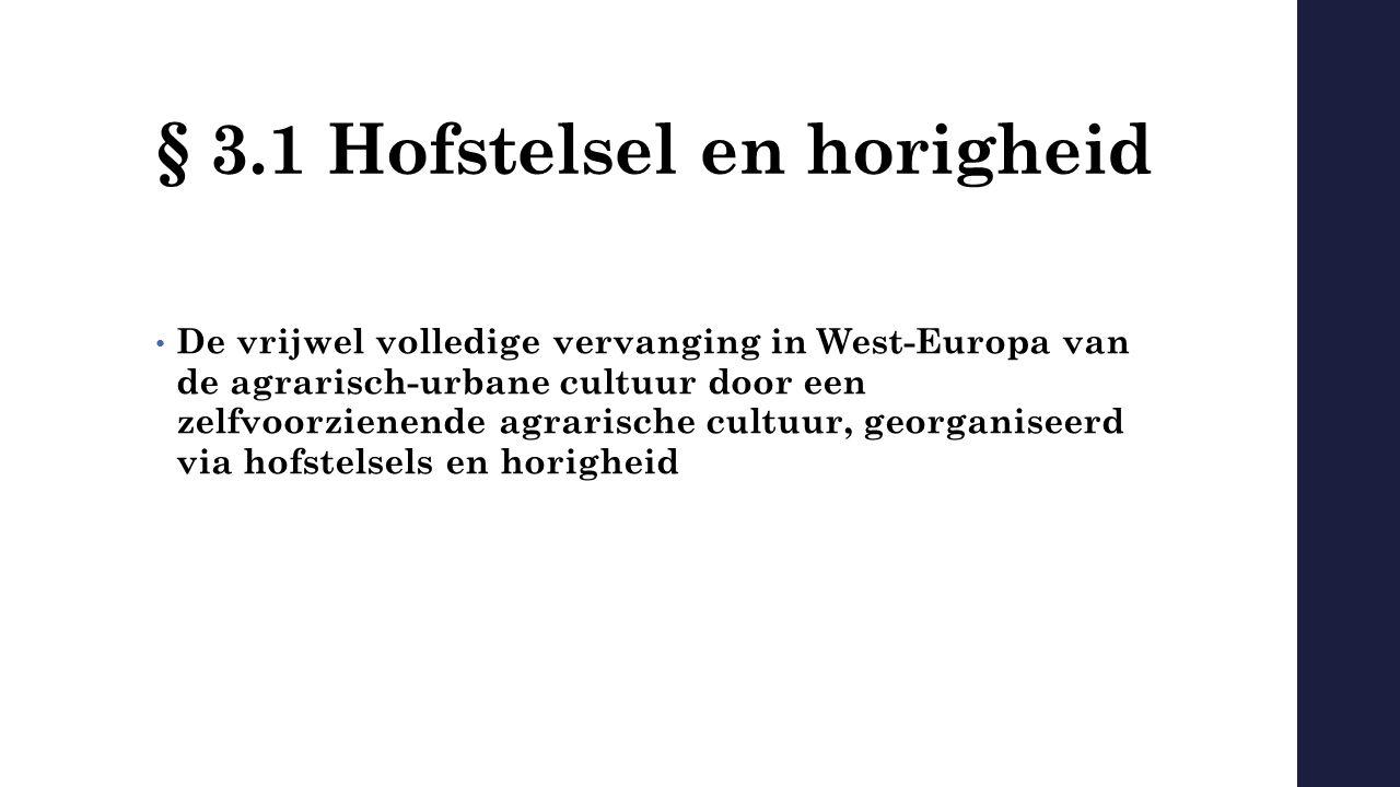 § 3.1 Hofstelsel en horigheid De vrijwel volledige vervanging in West-Europa van de agrarisch-urbane cultuur door een zelfvoorzienende agrarische cult