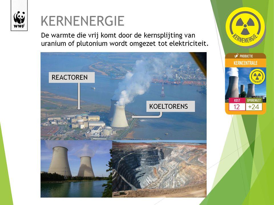 KERNENERGIE De warmte die vrij komt door de kernsplijting van uranium of plutonium wordt omgezet tot elektriciteit.