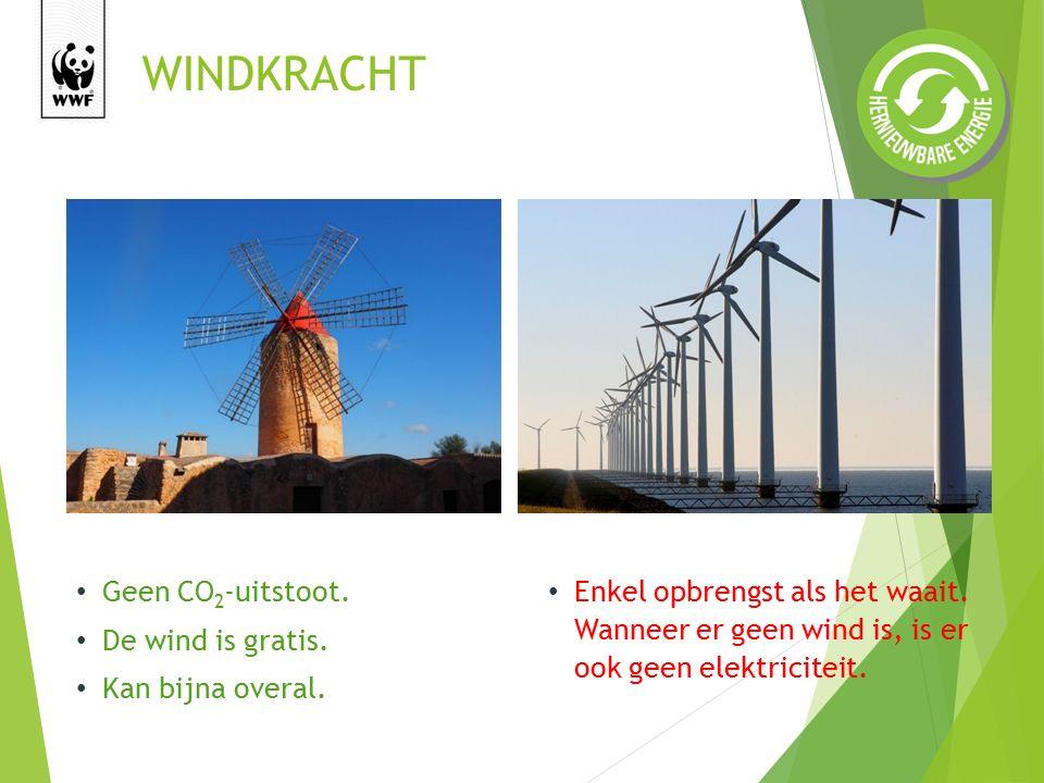 WINDKRACHT Enkel opbrengst als het waait.Wanneer er geen wind is, is er ook geen elektriciteit.