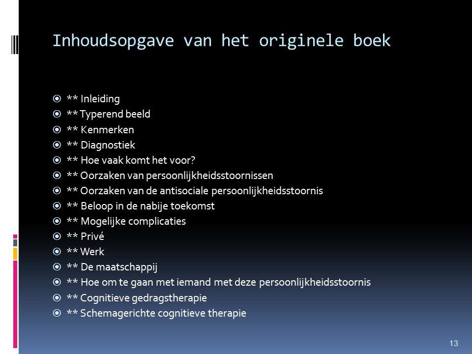 Inhoudsopgave van het originele boek  ** Inleiding  ** Typerend beeld  ** Kenmerken  ** Diagnostiek  ** Hoe vaak komt het voor.