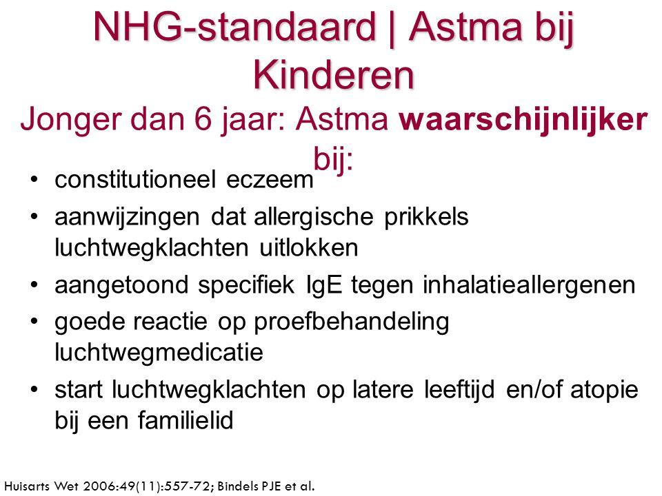 NHG-standaard | Astma bij Kinderen NHG-standaard | Astma bij Kinderen Jonger dan 6 jaar: Astma waarschijnlijker bij: constitutioneel eczeem aanwijzingen dat allergische prikkels luchtwegklachten uitlokken aangetoond specifiek IgE tegen inhalatieallergenen goede reactie op proefbehandeling luchtwegmedicatie start luchtwegklachten op latere leeftijd en/of atopie bij een familielid Huisarts Wet 2006:49(11):557-72; Bindels PJE et al.