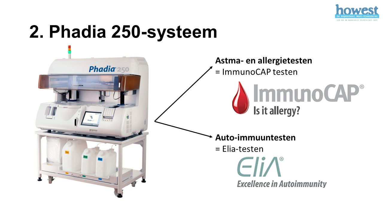 2. Phadia 250-systeem Astma- en allergietesten = ImmunoCAP testen Auto-immuuntesten = Elia-testen