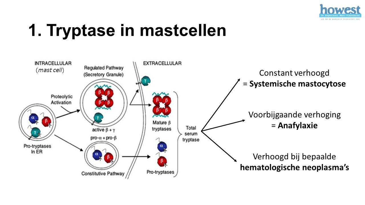 1. Tryptase in mastcellen (mast cell) Constant verhoogd = Systemische mastocytose Voorbijgaande verhoging = Anafylaxie Verhoogd bij bepaalde hematolog
