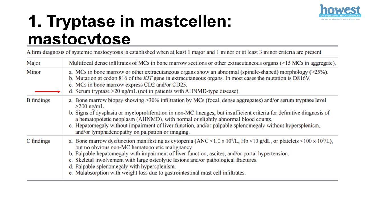 1. Tryptase in mastcellen: mastocytose