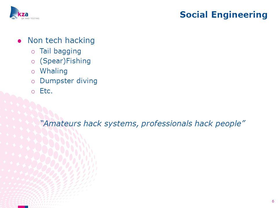 Social Engineering 6 ●Non tech hacking o Tail bagging o (Spear)Fishing o Whaling o Dumpster diving o Etc.