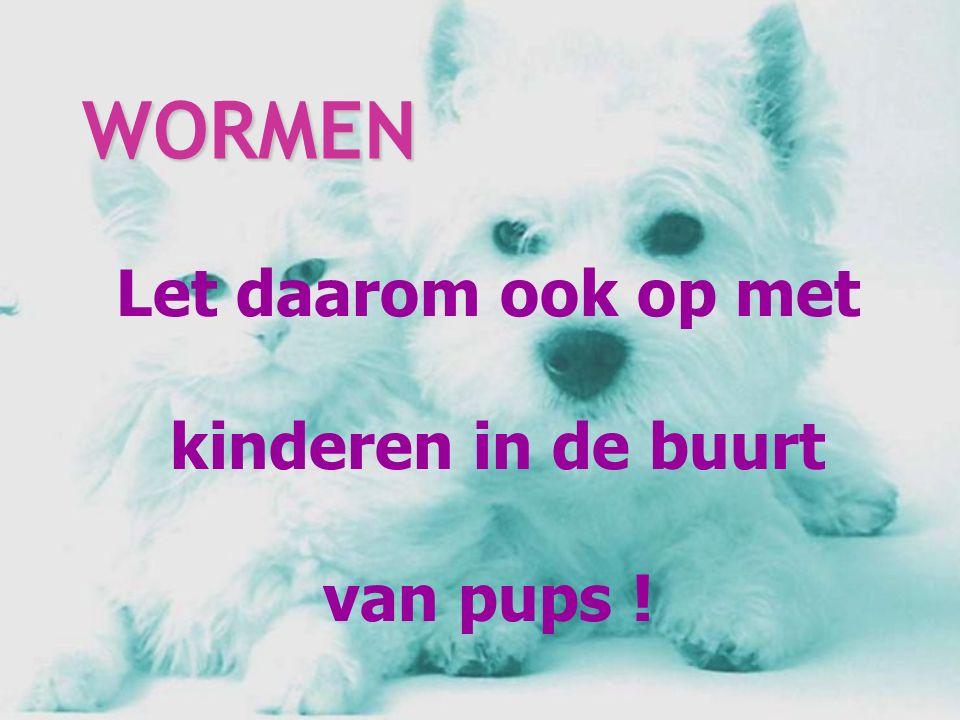 Let daarom ook op met kinderen in de buurt van pups ! WORMEN WORMEN