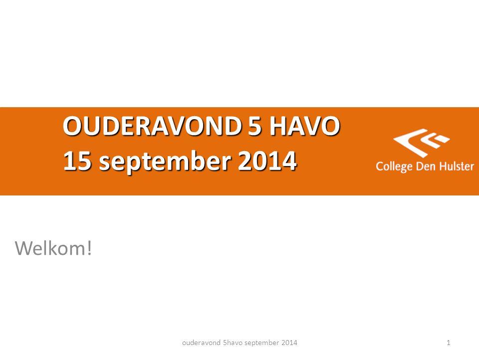 OUDERAVOND 5 HAVO 15 september 2014 Welkom! ouderavond 5havo september 20141
