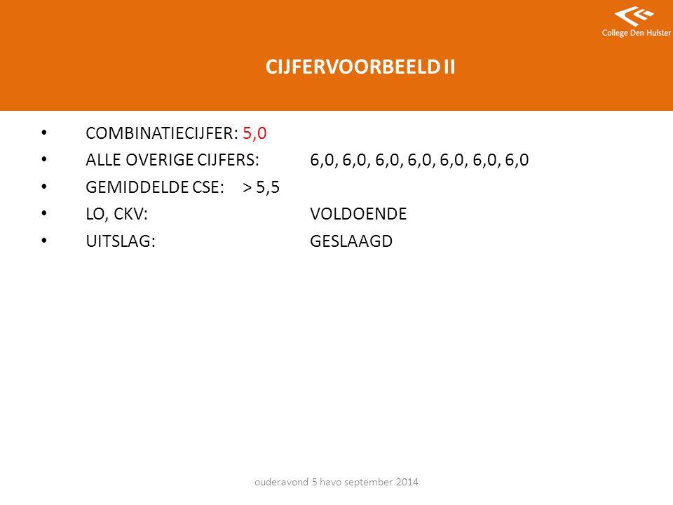CIJFERVOORBEELD II COMBINATIECIJFER: 5,0 ALLE OVERIGE CIJFERS: 6,0, 6,0, 6,0, 6,0, 6,0, 6,0, 6,0 GEMIDDELDE CSE:> 5,5 LO, CKV:VOLDOENDE UITSLAG:GESLAAGD ouderavond 5 havo september 2014