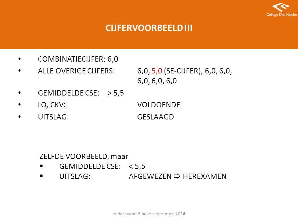 CIJFERVOORBEELD III COMBINATIECIJFER: 6,0 ALLE OVERIGE CIJFERS: 6,0, 5,0 (SE-CIJFER), 6,0, 6,0, 6,0, 6,0, 6,0 GEMIDDELDE CSE:> 5,5 LO, CKV:VOLDOENDE UITSLAG:GESLAAGD ouderavond 5 havo september 2014 ZELFDE VOORBEELD, maar  GEMIDDELDE CSE:< 5,5  UITSLAG: AFGEWEZEN  HEREXAMEN