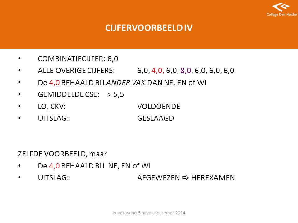 CIJFERVOORBEELD IV COMBINATIECIJFER: 6,0 ALLE OVERIGE CIJFERS: 6,0, 4,0, 6,0, 8,0, 6,0, 6,0, 6,0 De 4,0 BEHAALD BIJ ANDER VAK DAN NE, EN of WI GEMIDDELDE CSE:> 5,5 LO, CKV:VOLDOENDE UITSLAG:GESLAAGD ZELFDE VOORBEELD, maar De 4,0 BEHAALD BIJ NE, EN of WI UITSLAG:AFGEWEZEN  HEREXAMEN ouderavond 5 havo september 2014