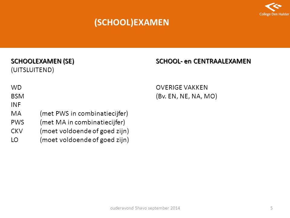 5 (SCHOOL)EXAMEN SCHOOLEXAMEN (SE)SCHOOL- en CENTRAALEXAMEN (UITSLUITEND) WDOVERIGE VAKKEN BSM(Bv.