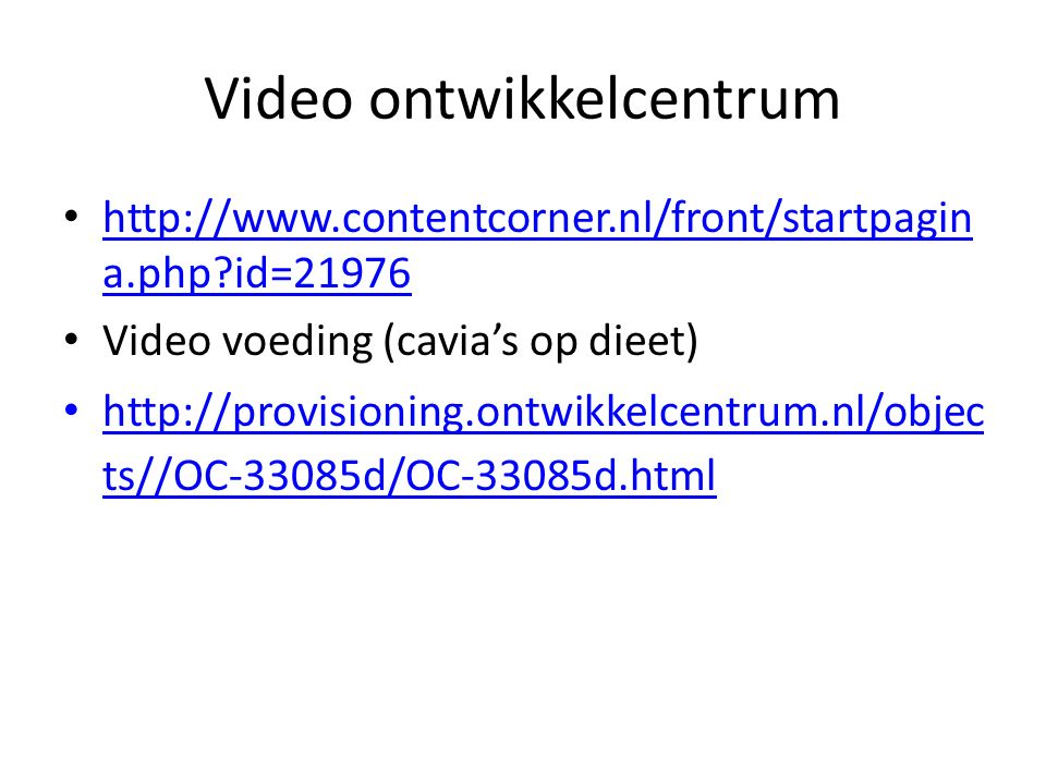 Video ontwikkelcentrum http://www.contentcorner.nl/front/startpagin a.php?id=21976 http://www.contentcorner.nl/front/startpagin a.php?id=21976 Video v