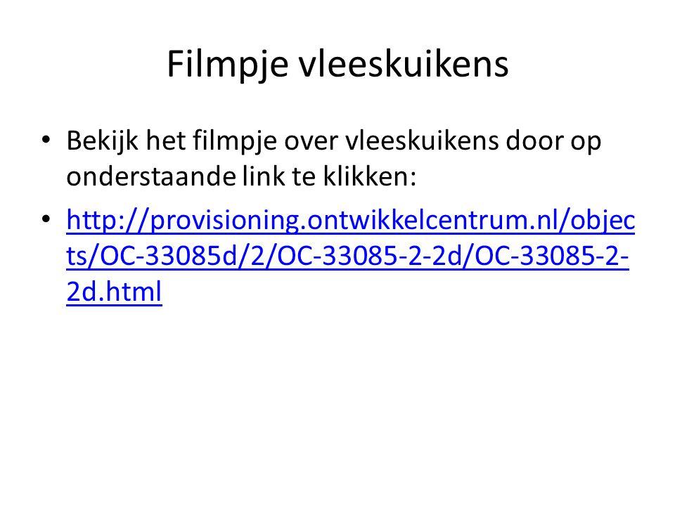 Filmpje vleeskuikens Bekijk het filmpje over vleeskuikens door op onderstaande link te klikken: http://provisioning.ontwikkelcentrum.nl/objec ts/OC-33