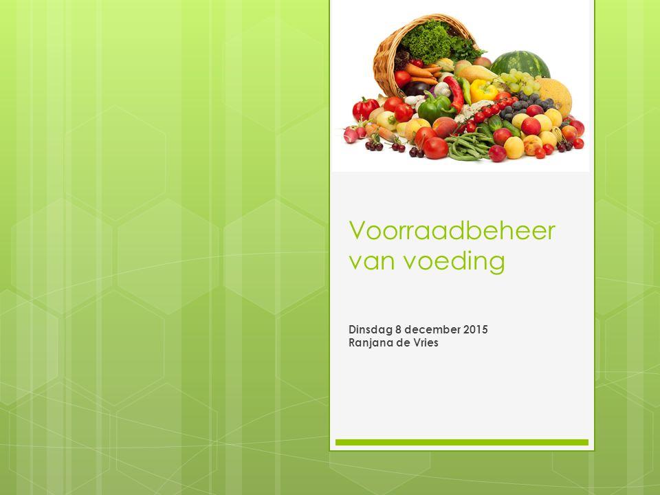 Voorraadbeheer van voeding Dinsdag 8 december 2015 Ranjana de Vries