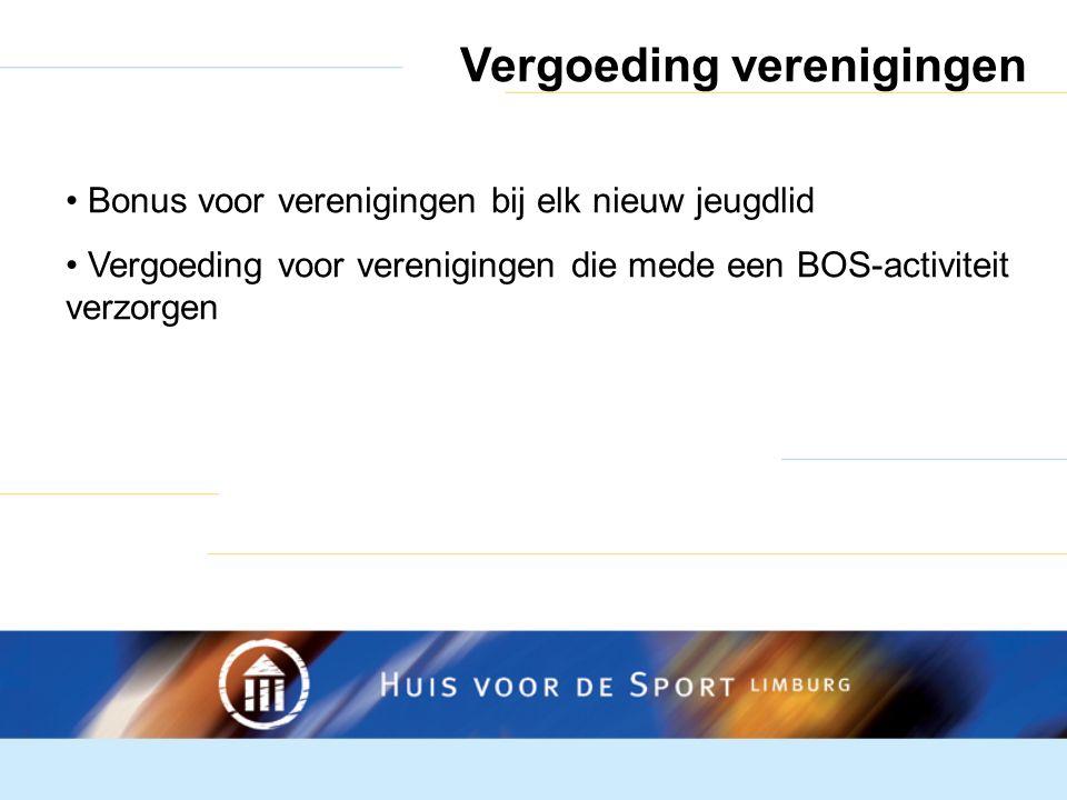 Vergoeding verenigingen Bonus voor verenigingen bij elk nieuw jeugdlid Vergoeding voor verenigingen die mede een BOS-activiteit verzorgen