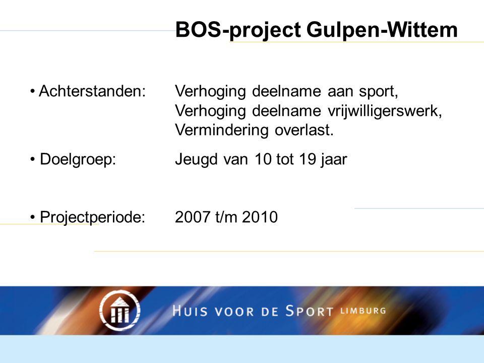 BOS-project Gulpen-Wittem Achterstanden:Verhoging deelname aan sport, Verhoging deelname vrijwilligerswerk, Vermindering overlast.