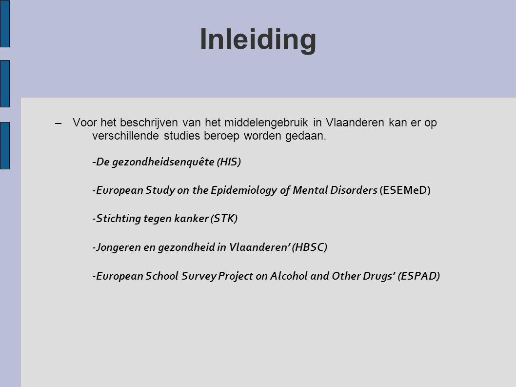Inleiding –Voor het beschrijven van het middelengebruik in Vlaanderen kan er op verschillende studies beroep worden gedaan. - De gezondheidsenquête (H