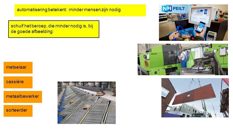 automatisering betekent: minder mensen zijn nodig schuif het beroep, die minder nodig is, bij de goede afbeelding: metselaar cassière metaalbewerker s