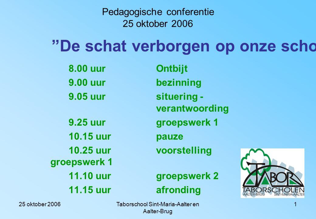 25 oktober 2006Taborschool Sint-Maria-Aalter en Aalter-Brug 31 Het was leuk samenwerken, dankzij Alsjeblieft Dankjewel.