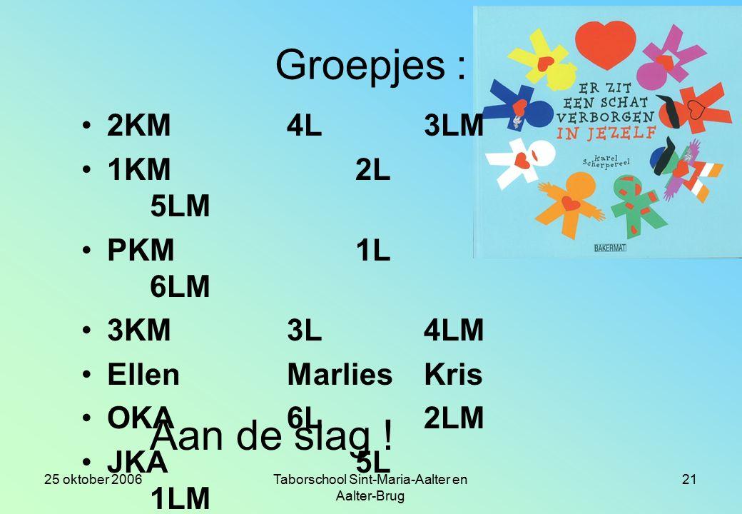 Groepswerk : de figuren voorstellen Opdracht : (van 9.é25 uur tot 10.15 uur) 1.Lees met het groepje het verhaaldeel voor.