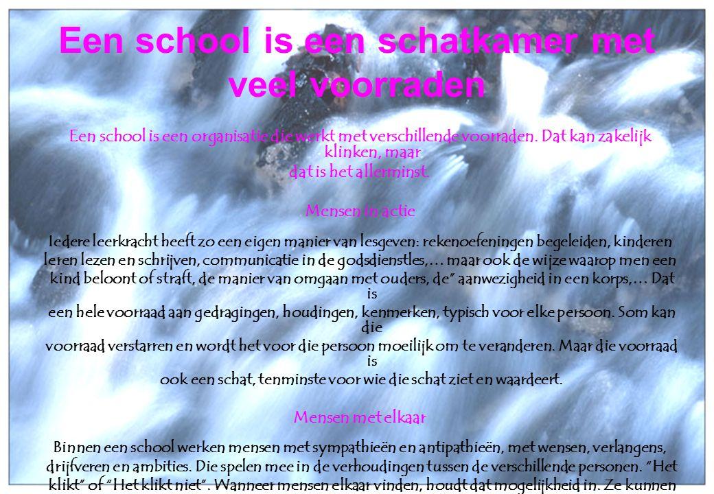 25 oktober 2006Taborschool Sint-Maria-Aalter en Aalter-Brug 3 Een school is een schatkamer met veel voorraden Een school is een organisatie die werkt met verschillende voorraden.