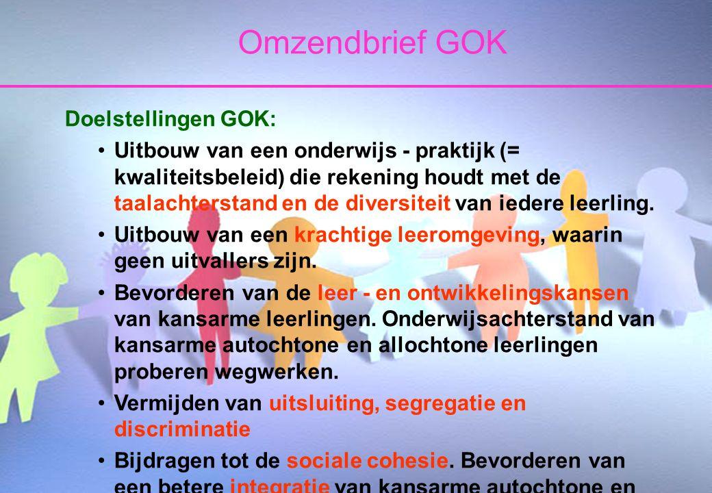 25 oktober 2006Taborschool Sint-Maria-Aalter en Aalter-Brug 7 Omzendbrief GOK Doelstellingen GOK: Uitbouw van een onderwijs - praktijk (= kwaliteitsbeleid) die rekening houdt met de taalachterstand en de diversiteit van iedere leerling.