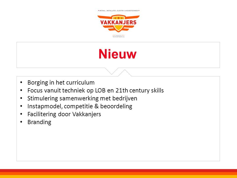 Nieuw Borging in het curriculum Focus vanuit techniek op LOB en 21th century skills Stimulering samenwerking met bedrijven Instapmodel, competitie & b