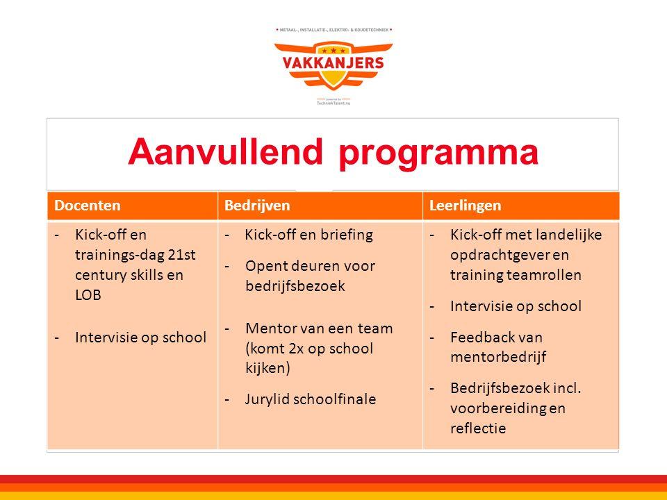 Aanvullend programma DocentenBedrijvenLeerlingen -Kick-off en trainings-dag 21st century skills en LOB -Intervisie op school - Kick-off en briefing -O