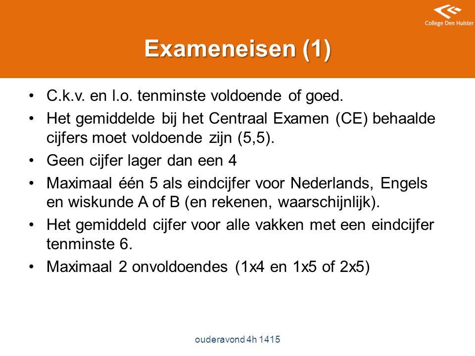 Exameneisen (1) C.k.v. en l.o. tenminste voldoende of goed.