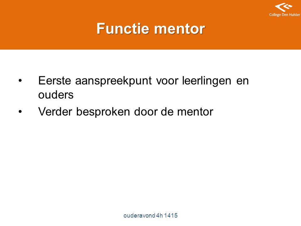 Functie mentor Eerste aanspreekpunt voor leerlingen en ouders Verder besproken door de mentor ouderavond 4h 1415